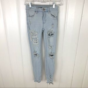 American Eagle: Light wash, distressed jeans